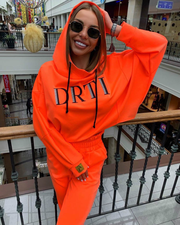 OMSJ Autumn Neon Green Two Piece Set Women Lace Up Outfits Solid Orange Casual Suit Female Clothing Crop Top and Pants Tracksuit