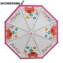 SHOWERSMILE POE Children Transparent Umbrella Kids Cartoon Elephant Pink Long Handle Sunny and Rainy Guarda Chuva