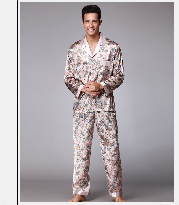 Badjas Heren Men Silk Pajamas Set Chinese Traditional Pyjamas Suit 2PCS Sleepwear Bath Gown Robe De Chambre Homme