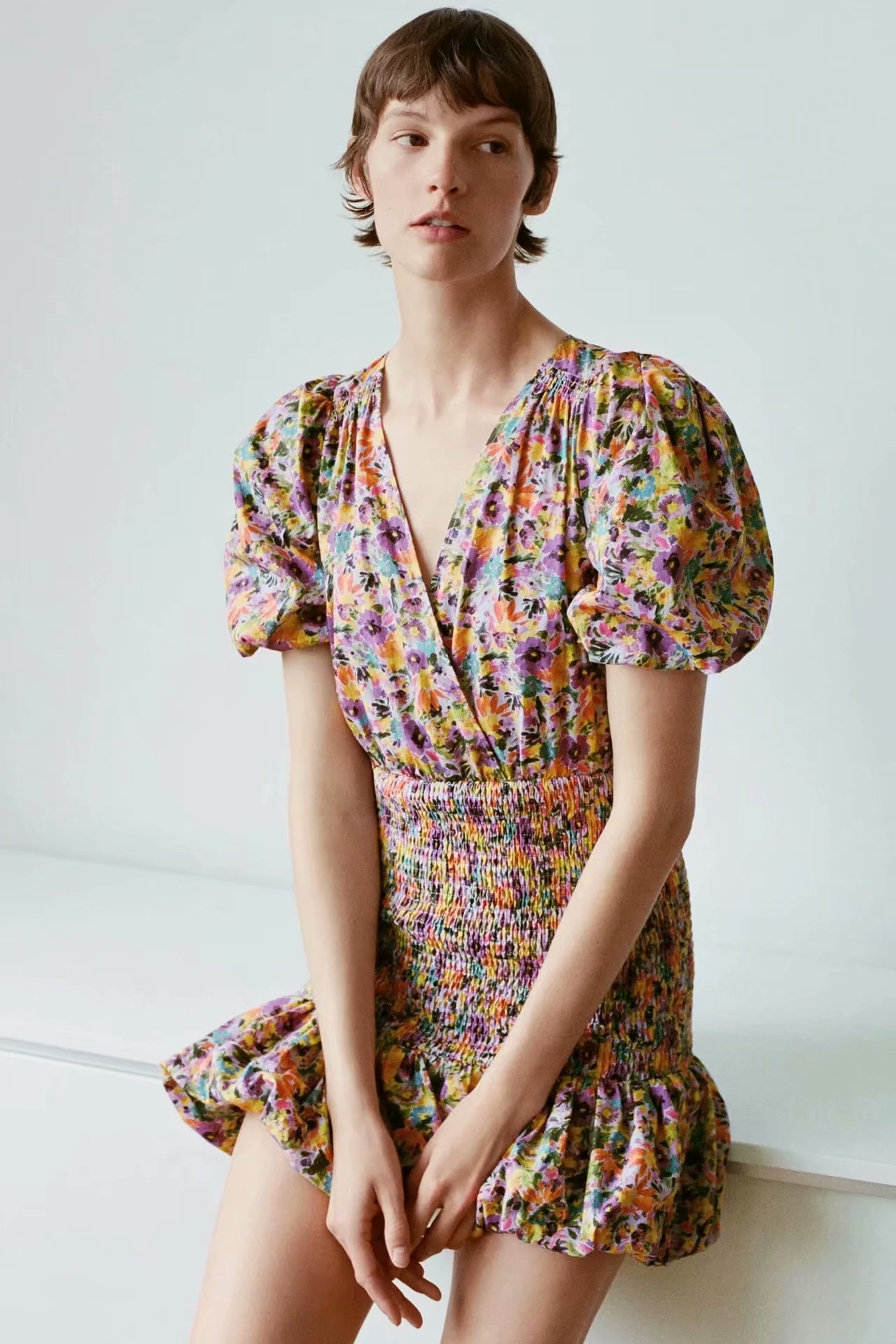2020 Spring Summer New Grand Prix Flower Floral Print Zaraing Women Dress Sheining Vadiming Female Dress Sexy Vintage XDN9530