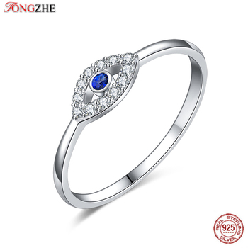TONTGZHE Genuine 925 Sterling Silver Evil Eye Ring Charm Blue CZ Wedding Rings For Women Lucky Turkey Jewelry Gift for Girl 2020 - discount item  42% OFF Fine Jewelry