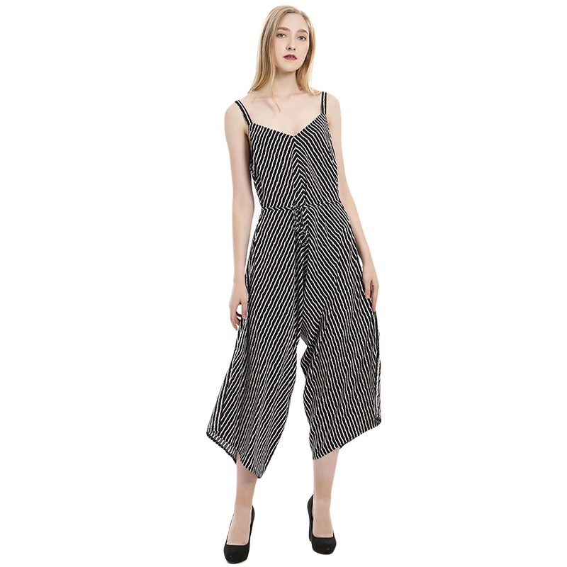Wide Leg Loose Long Jumpsuits Fashion Ladies Bodysuit 2020 Summer Women Holiday Casual Jumpsuits Sleeveless Dot Woman Clothing