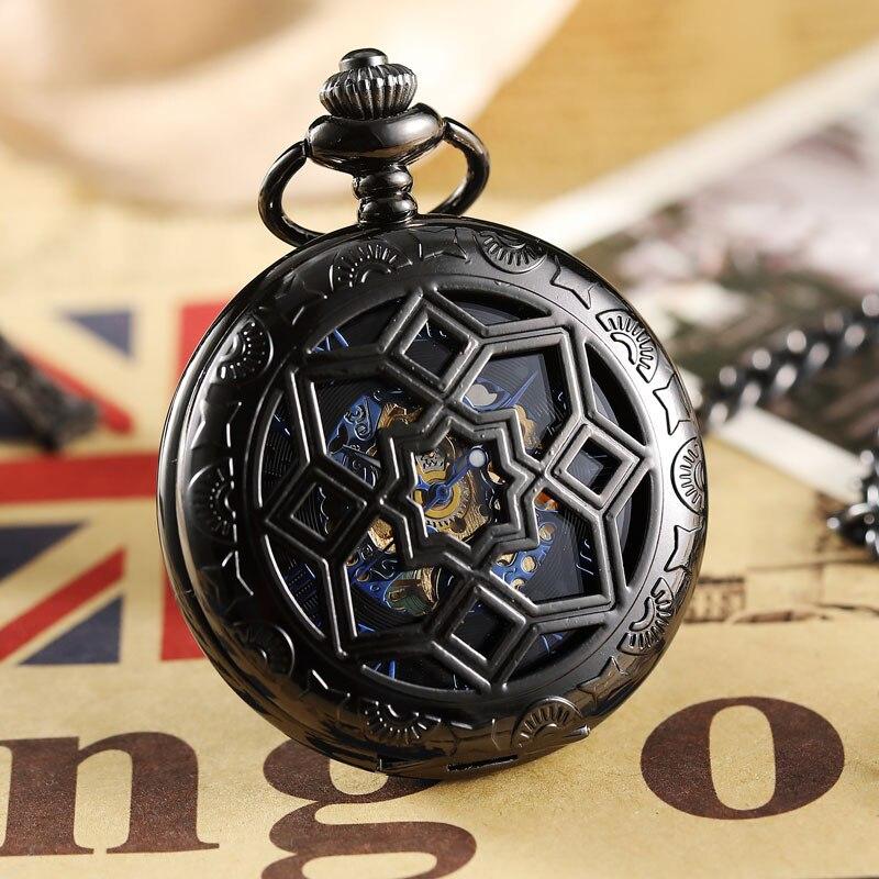 Relógio de Bolso Reloj de Bolsillo Corrente do Relógio Caixa de Presente Nova Mão-vento Mecânico Automático Preto Virar Fob Colar Homens Relógios Masculinos