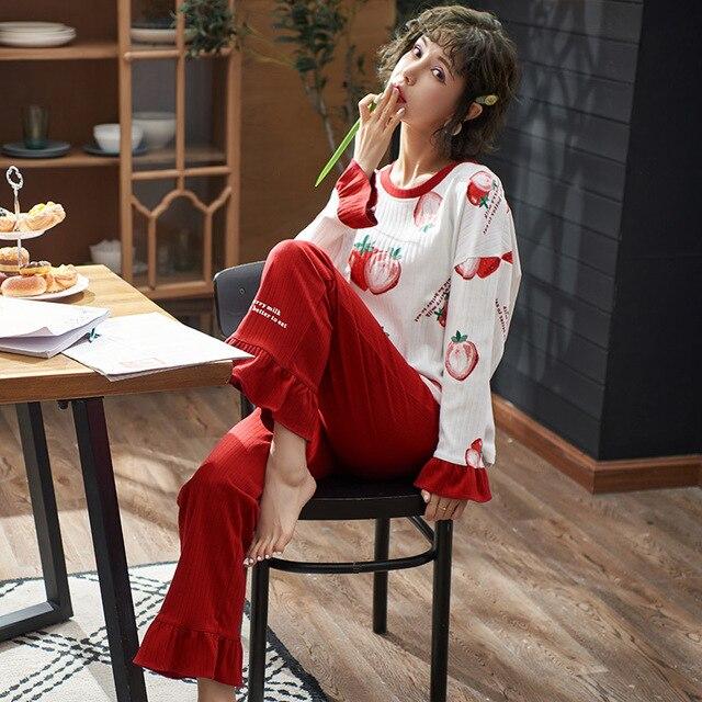 Женская одежда, осенне зимние пижамные комплекты, одежда для сна, милая Пижама, Женская хлопковая пикантная пижама с длинным рукавом, Женская милая домашняя одежда