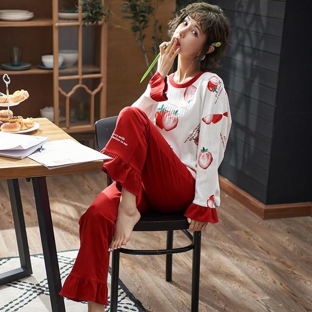 Frauen Kleidung Herbst Winter Pyjamas Sets Nachtwäsche Schöne Pijamas Mujer Langarm Baumwolle Sexy Pyjamas Weibliche Nette Homewear