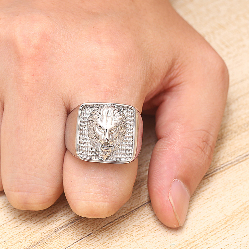 Animal Lion Men Signet Ring Seal Square Silver Gold Color Titanium Stainless Steel Male Rings Jewelry Band Punk Hip Hip DCR095 in Rings from Jewelry Accessories