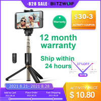 BlitzWolf BS3 3 in1 compatible con bluetooth Selfie Stick con trípode extensible plegable Monopod Inalámbrico Selfie Stick para iPhone Para xiaomi Smartphone portátil video al aire libre foto de teléfono móvil titular
