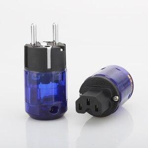 Image 2 - 1 pair Rhodium Placcato P 037E UE Schuko spina di Alimentazione C 037 IEC Connector per Hifi audio FAI DA TE Schuko cavo di alimentazione CA cavo