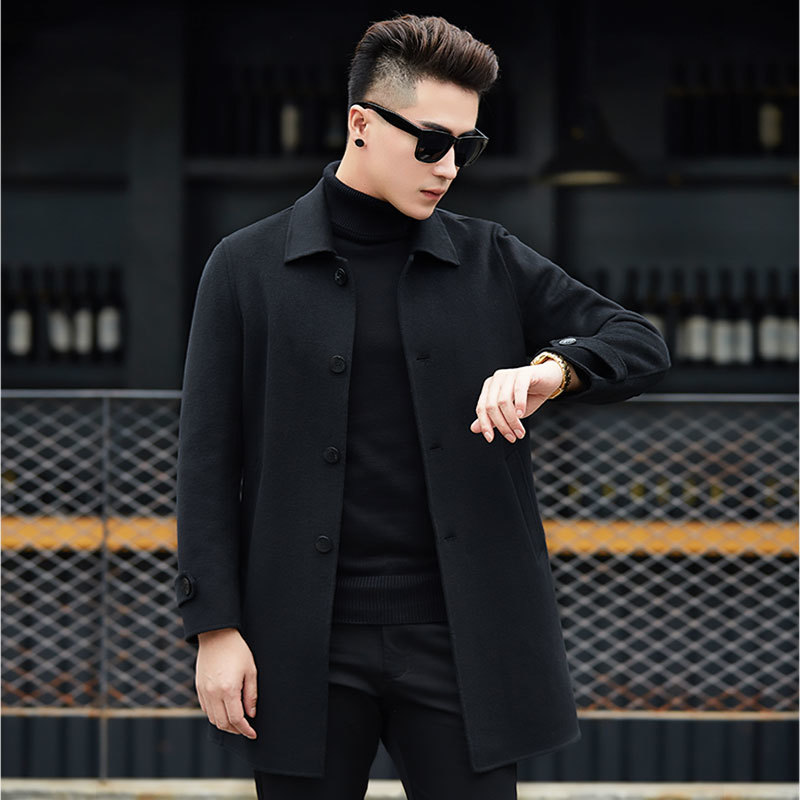 Handmade Double-faced Wool Coat Autumn Cashmere Long Coat Winter Jacket Men Korean Woolen Overcoat Abrigo HombreA1 MY802