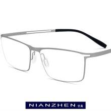 B Occhiali Da Vista In Titanio Telaio Uomini 2019 Piazza Miopia Montature da vista Occhiali Da Vista per Uomo di Memoria Luce Coreano Senza Viti Occhiali 1175