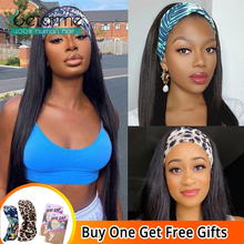 Human-Hair Headband Front-Wigs Straight Black-Women No-Glueless 1b-Color Natural
