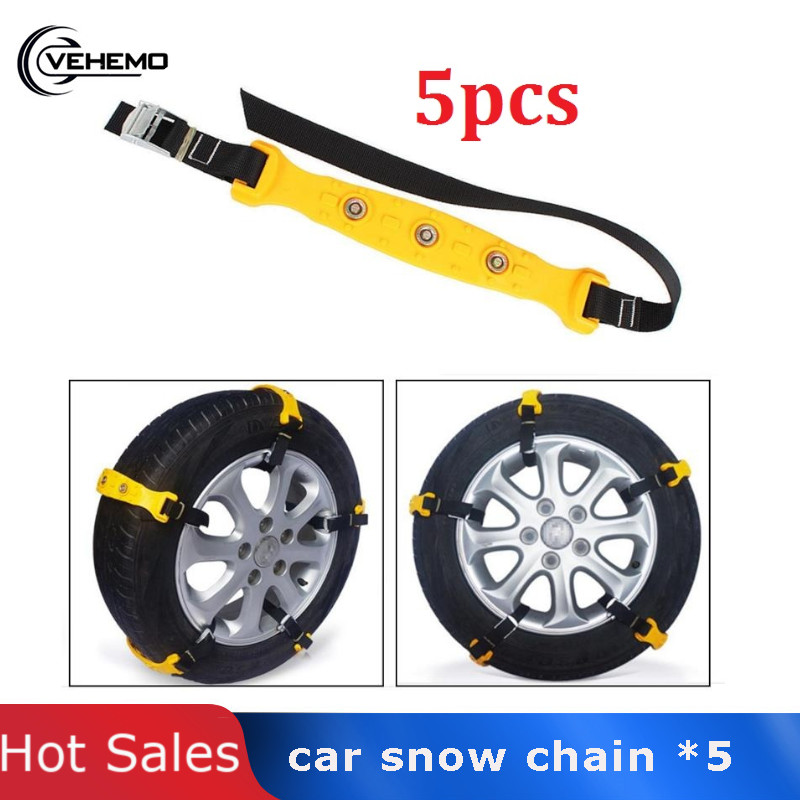 Vehemo 5Pcs Universal Tyres Wheels Snow Chains Car Snow Security Safety Tire Emergency Thickening Winter Anti-skid Chains image