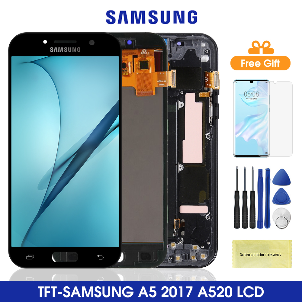 <font><b>A520</b></font> Lcd For <font><b>Samsung</b></font> Galaxy <font><b>A5</b></font> 2017 <font><b>A520</b></font> LCD Display Touch Screen Digitizer Assembly For <font><b>Samsung</b></font> <font><b>A520</b></font> A520F SM-A520F image