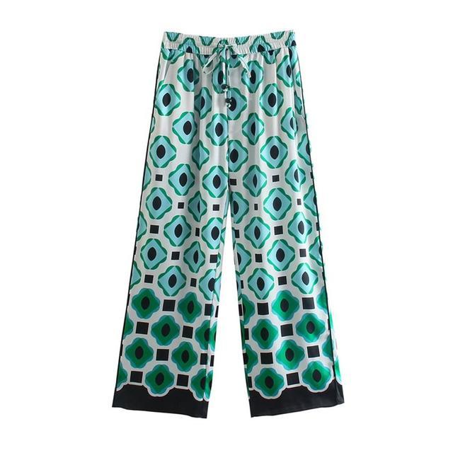 TRAF Women 2021 Fashion Geometric Graphic Print Trousers Retro High-Waist Drawstring Side Pockets Women's Trousers Streetwear 2