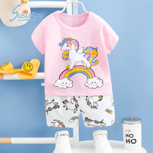 Susuray Summer Pajamas for Kids Baby Unicorn Pjs Short Sleeve Children Sleepwear Cotton Girls Pyjama Sleeping Toddler Clothes