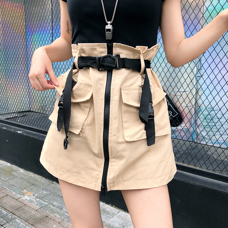 Lucyever High Waist Women Safari Skirt Vintage Summer Black Zipper Ladies Mini Skirt Belt Tunic Pocket Casual Solid Female Skirt