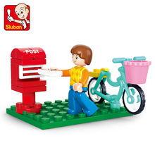 SLUBAN Compatible Playmobil 29pcs Girl Friends Bicycle Send A Letter Building Blocks Brick Toys For Children nuclear submarine building blocks sluban b0123 educational diy brick thinking toy for children compatible with legoes