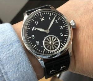 Image 1 - 44mm kein logo Schwarz zifferblatt turbine zweite hand Asiatischen 6498 Mechanische bewegung herren uhr GR16 20