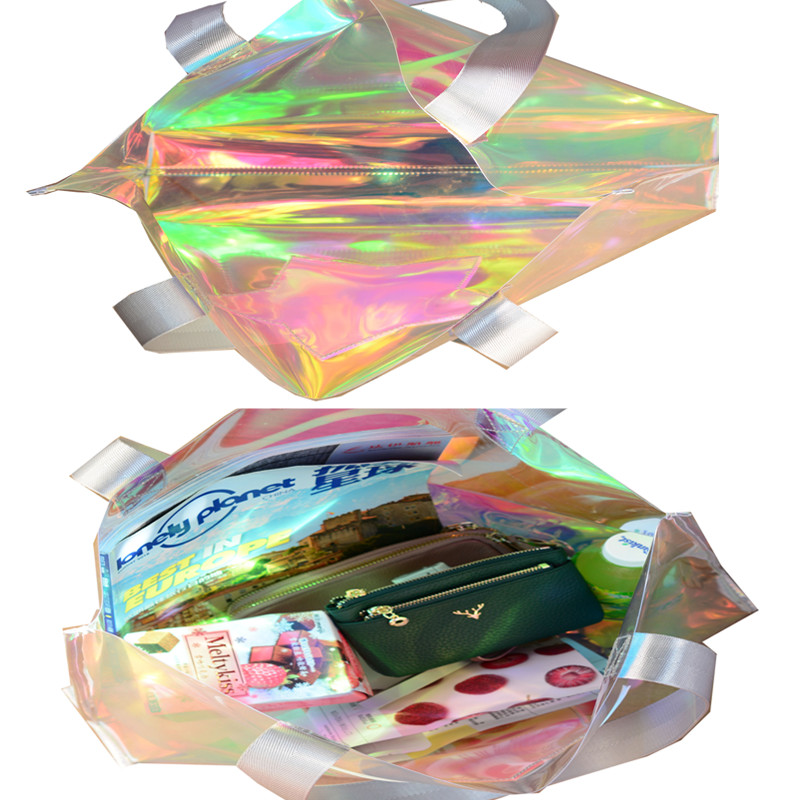 Beach transparent bag woman waterproof laser clear tote bags summer big top-handle bags laser holographic purse jelly handbag 5