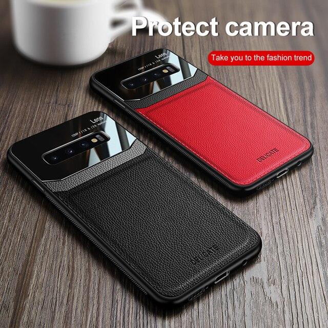 Para Samsung Galaxy S8 S9 S10 S20 Funda de cuero PU plexiglás a prueba de golpes para Samsung Note 8 9 10 Plus Ultra cubierta trasera