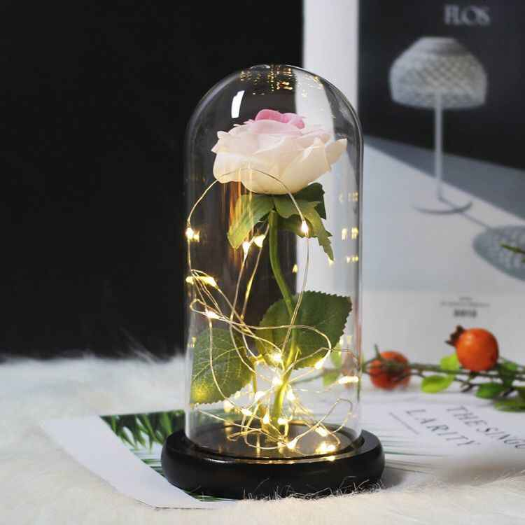 15 Gaya Kecantikan dan Binatang LED Mawar Merah Di Flask Kaca Abadi Mawar Hadiah Natal Buatan Bunga Valentine hadiah Hari