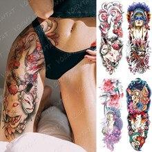 Grande braço manga tatuagem ninetales sakura gato demônio à prova dwaterproof água temporária tatto adesivo japonês arte do corpo falso completo tatoo mulher