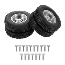 2pcs RC Trailer Front Rear Wheels with 10 Spokes Aluminum Alloy Hubs for 1/14 Tamiya Tractor Truck RC Climber Trailer Parts(China)