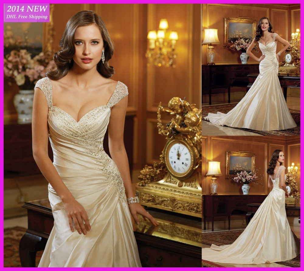 Champagne Mermaid Satin Sweetheart Sleeveless With Crystal Beading Vestido De Noiva Bridal Gown 2018 Mother Of The Bride Dresses