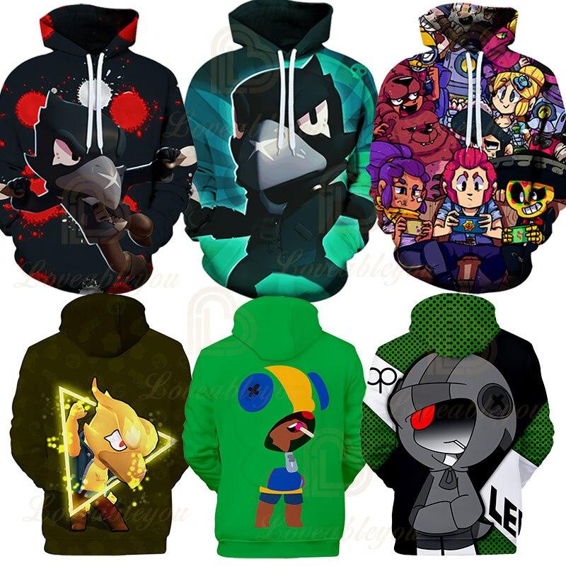 3 To 14 Year Kids Hoodie Funny Crow Brawling Shooting Game Star Leon Shelly Spike 3D Hoodies Streetwear Warm Sweatshirts Tops