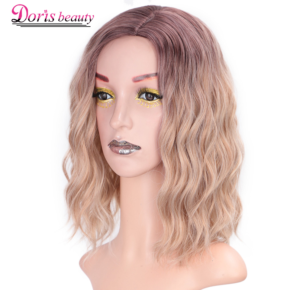 Doris BEAUTY Ombre Blonde Short Wig Water Wave Synthetic Wigs For Women Pink Purple Grey Red Black Cosplay Female False Hair