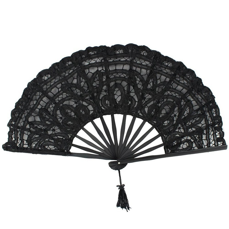 Handmade Cotton Lace Folding Hand Fan For Party Bridal Wedding Decoration (Black)