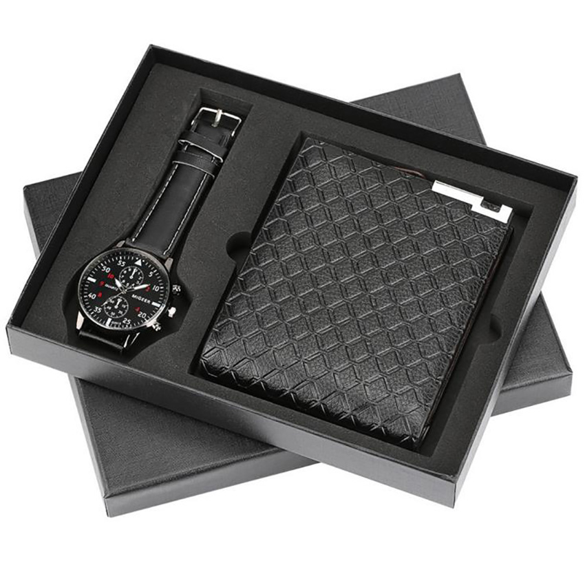 Man Watch Gift Set With Box Mens Wallets Watch Mens Watches Luxury Quartz Wrist Watch Set For Father's Day gifts Boyfriend reloj