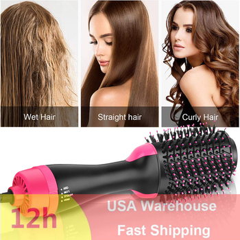3 in 1 One Step Hair Dryer And Volumizer Hot Air Brush Negative Ion Dryer Straight&Curls Styling Salon Electric Hairdryer Brush