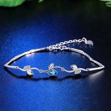 Silver bracelet Tree Branch Shape Bracelets Link Chain Bracelet blue Zircon 925 Sterling SilverDesign Fashion Women