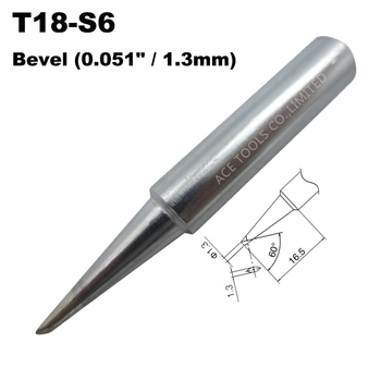 T18-S6 Soldering Tip Bevel 1.3mm 0.051 Fit HAKKO FX-888 FX-888D FX-8801 FX-600 Lead Free Handle Pencil Iron Welding Bit Nozzle image