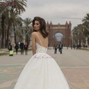 Image 5 - Julia Kui robe de mariée élégante avec des perles, robe de mariée, avec traîne Court, bretelles Spaghetti, dos nu, modèle 2020