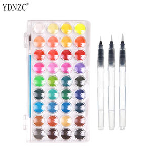 High Quality Solid Watercolor Paint With Wooden Pole Brush Pen Set Portable Water Brush Gouache Pigments School Art Stationery