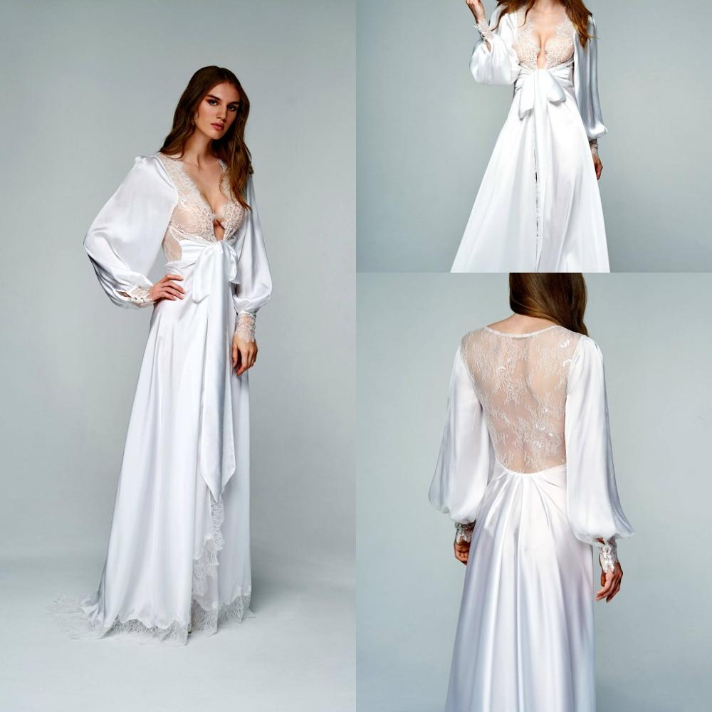 2020 Long Sleeve Night Robe Illusion Lace Back Soft Silk Satin Sleepwear Dress Custom Made Floor Length Nightgowns Robes Cheap