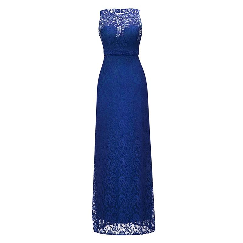 Dressv Royal Blue Scoop Neck Long Evening Dress Beading Sleeveless Cheap Wedding Party Formal Dress Sheath Evening Dresses