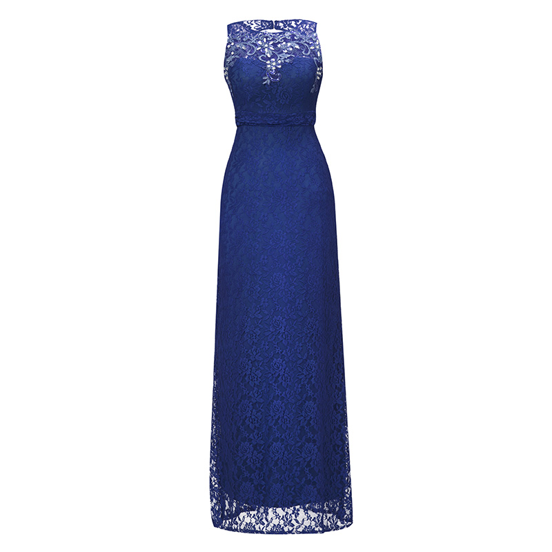 Dressv royal blue scoop neck long   evening     dress   beading sleeveless cheap wedding party formal   dress   sheath   evening     dresses