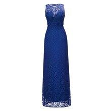 Vestido de noche largo con cuello redondo, Azul Real, rebordear, sin mangas, fiesta de casamiento económica, formal, vaina