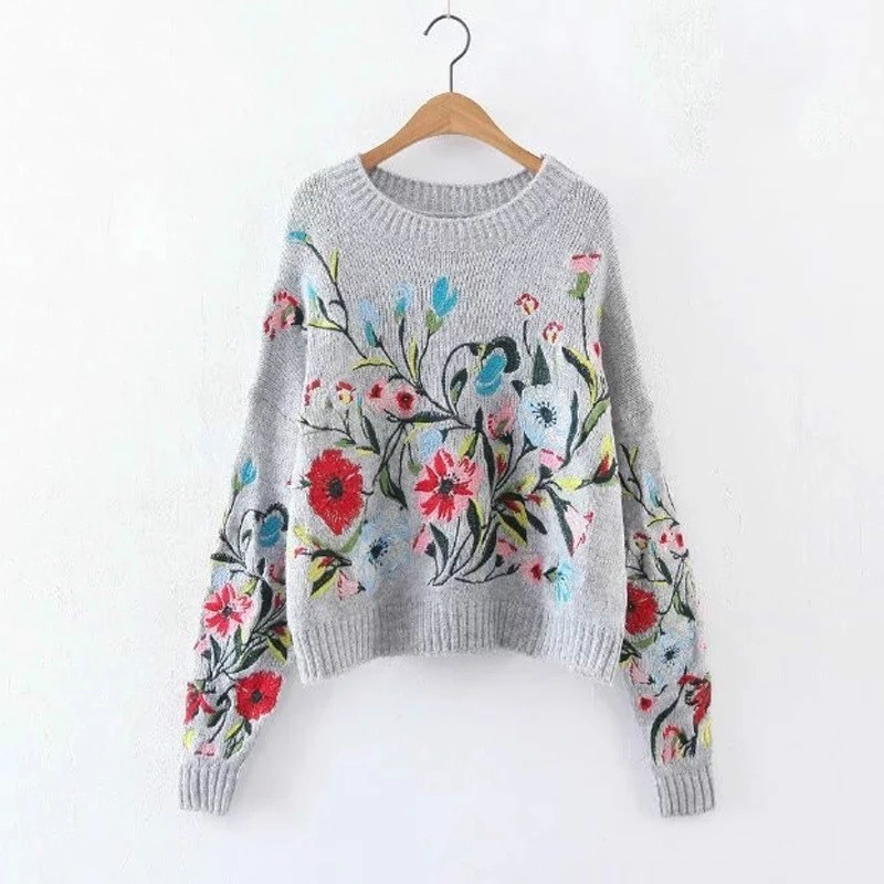 2019 Autumn Winter Round Neck Long Sleeve Flower Embroidered Knitting Warm Loose Sweater Pollovers Women Fashion V74702
