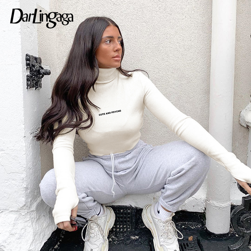 Darlingaga Casual Letter Embroidery Turtleneck Bodysuit Women Long Sleeve Body Ribbed Autumn Winter Bodysuits Basic Bodycon Slim