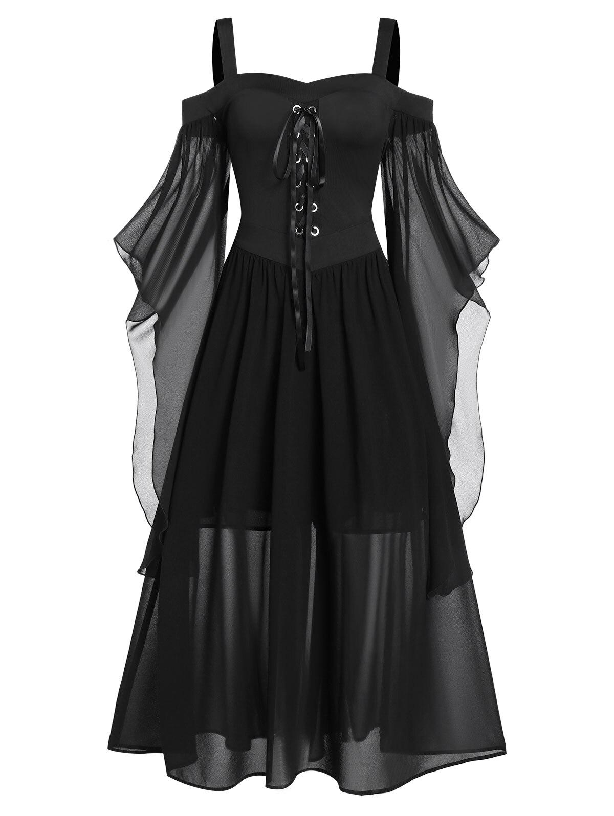 Rosegal 5XL grande taille Maxi robe froide épaule papillon manches à lacets robe d'halloween gothique fête femmes robe Vintage - 6