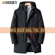Długa zimowa kurtka męska bawełniany płaszcz z kapturem typu Oversized 6XL 7XL 8XL parki luźny, gruby ciepły wiatroszczelny duży rozmiar wyściełana wiatrówka