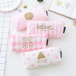 1 pçs/vender concisa rosa kawaii lápis caso bonito listra vertical padrão material escolar papelaria presente caixa de lápis saco