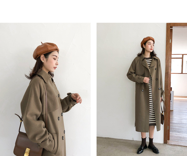 2020 new women's winter coat woolen coat slim-fit belt elegant and soft women's long coat coat windproof 4