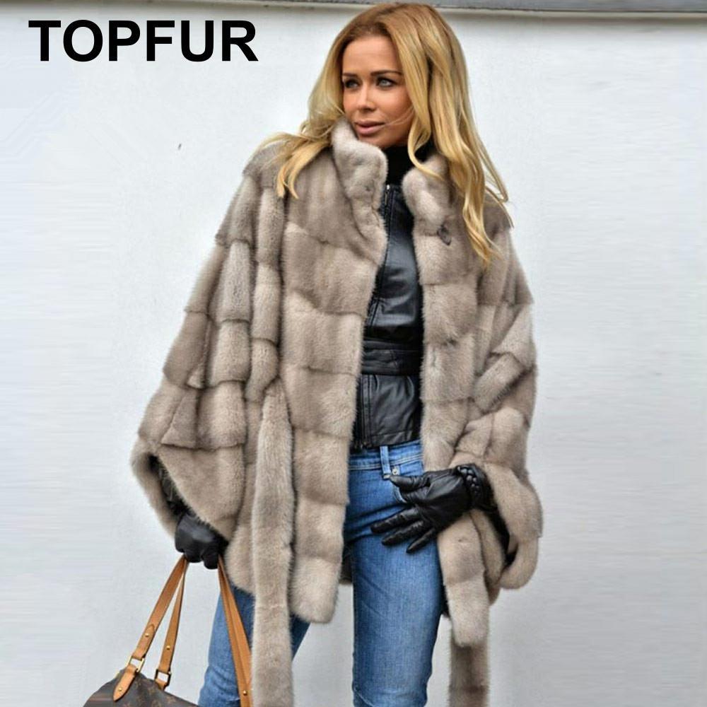 TOPFUR 2019 Winter Bat Sleeved Real Mink Fur Coat Women Natural Mink Fur Short Coats With Fur Belt Batwing Sleeves Coats Women