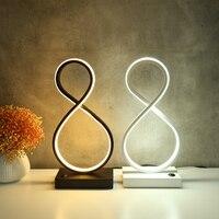 Moderne LED Spirale Tisch Lampe 8 Geformten Schreibtisch Nacht Acryl Eisen Curved Nacht Licht für Home Wohnzimmer Schlafzimmer Dekoration EU/UNS