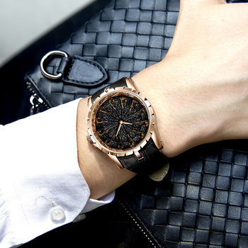ONOLA brand unique quartz watch man luxury rose gold leather cool gift for man watch fashion casual waterproof Relogio Masculino 3